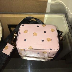 NM pink polka dot camera crossbody bag